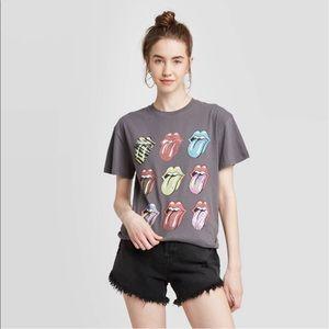 💫NWT The Rolling Stones Multi Logo Short Sleeve Graphic Boyfriend T-Shirt Large